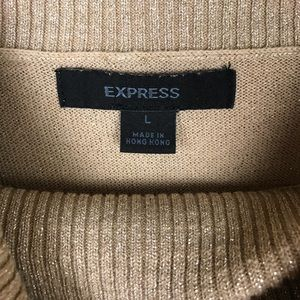 Express Tops - Express Gold Shimmery Blouse with Oversized Collar